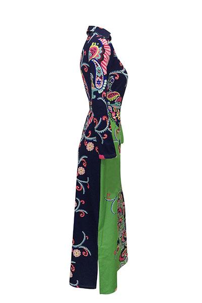 Euramerican V Neck manches longues imprimé floral coton robe longueur de sol