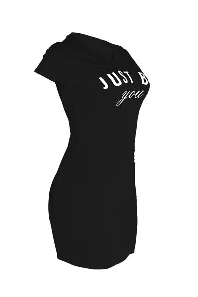 Ocio cuello redondo mangas cortas agujeros rotos negro mini vestido de poliéster