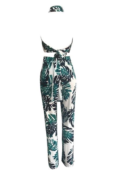 Elegante Dew Shoulder Printed Green Qmilch Two-Conjunto de calças de peça