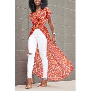 Pullovers Chiffon V Neck Short Sleeve Print Blouses&Shirts