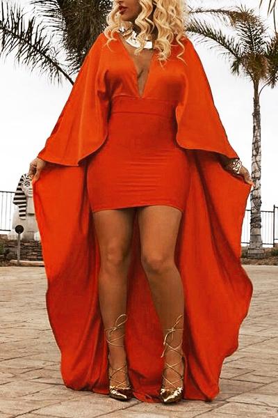 Manga comprida com decote em V mangas compridas de patchwork laranja vestido de cetim cheio com tornozelo