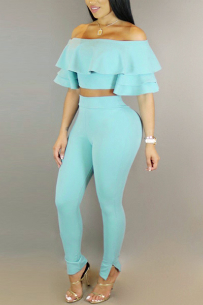 Sexy Dew Shoulder Falbala Design Blue Milk Fiber Two-piece Pants Set