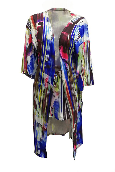 Trendy Half Sleeves Tie-dye Milk Fiber Two-piece Shorts Set(Without Lining)