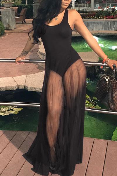 Sexy Round Neck See-Through Black Cotton One-piece Jumpsuits