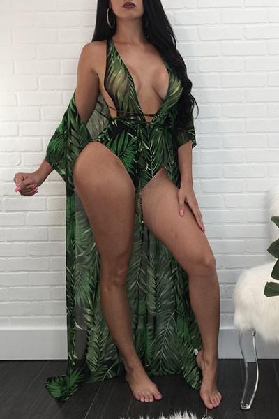Sexy Impreso Hollow-out verde oscuro de poliéster de dos piezas de baño (con mantón)