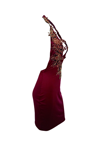 Sexy Deep V Neck Backless Wine Red Polyester Sheath Knee Length Dress