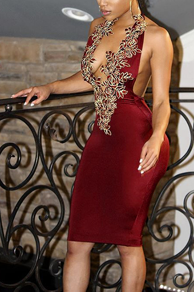 Sexy Deep V Neck Backless Wine Red Polyester Sheath Knee Length Dress