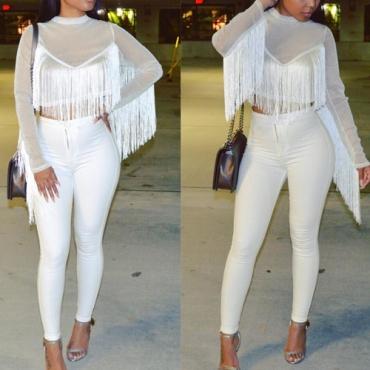 Stylish Round Neck Long Sleeves Tassel Design White Nylon Shirts
