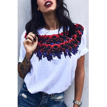 Stylish Round Neck Half Sleeves Rose Printed White Milk Fiber T-shirt