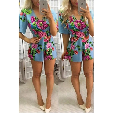 Stylish V Neck Short Sleeves Floral Print Cotton One-piece Skinny Jumpsuits