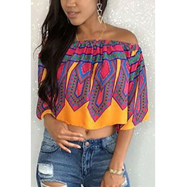 Pullovers Chiffon Bateau Neck Half Sleeve Print Blouses&Shirts