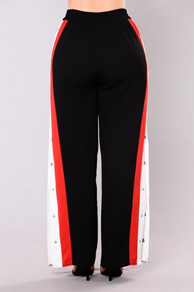 Stylish Elastic Waist Patchwork Black Polyester Pants