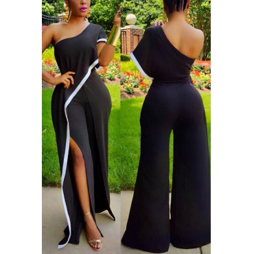 Stylish One-shoulder Asymmetrical Black Healthy Fabric One-piece Skinny Jumpsuits
