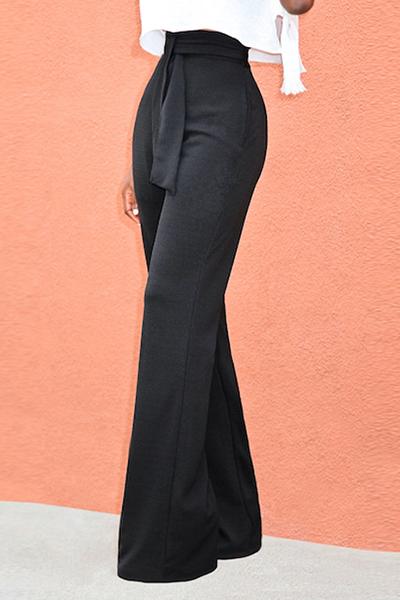Pantalones De Algodón Negro Con Cordones Con Cintura Alta