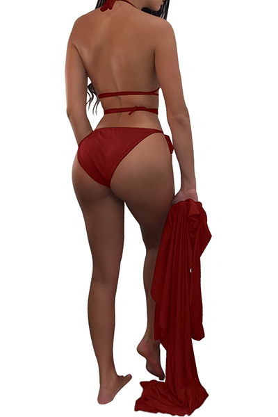 Sexy Lace-up Hollow-out Wine Red Polyester Two-piece Swimwear(With Shawl)