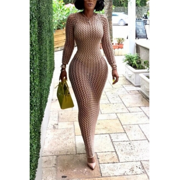A knitted hollowed-out dress