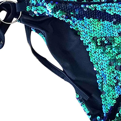 Sexy Sequined Decorativo Dark Blue Two-pedaço roupa de banho