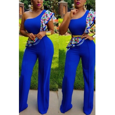 Stylish Printed Asymmetrical Blue Healthy Fabric One-piece Jumpsuits(Without Belt)