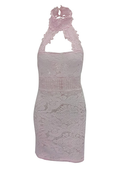 Sexy Backless Pink Lace Sheath Mini Dress(Without Lining)