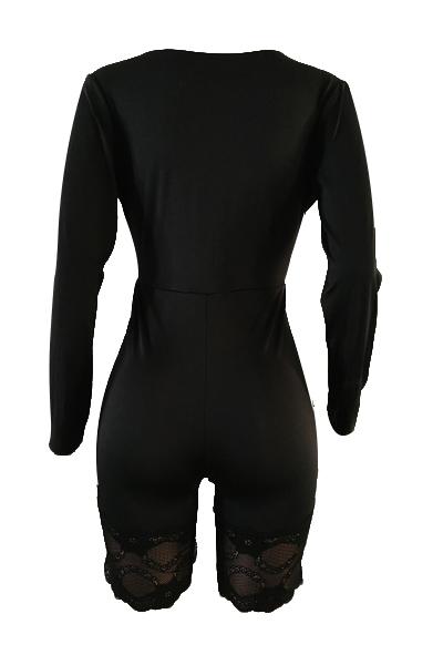 Sexy Lace Trim Patchwork Black Milk Fiber One-piece Skinny Jumpsuits(Without Bra)