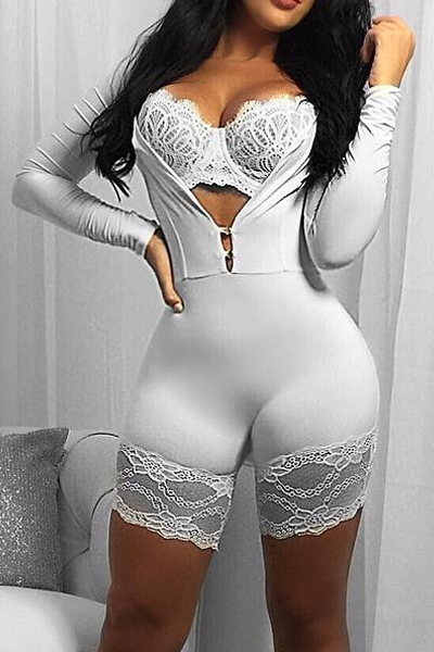 Sexy Lace Trim Patchwork White Milk Fiber One-piece Skinny Jumpsuits(Without Bra)