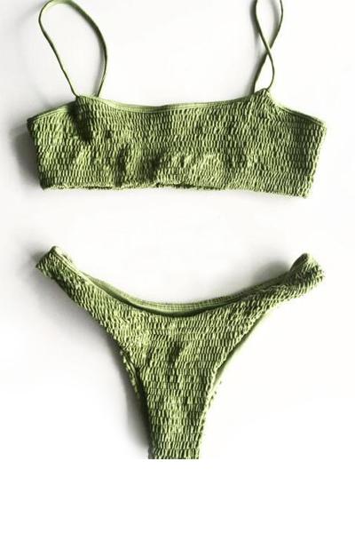 Euramerican Army Green Nylo Two-piece Swimwear