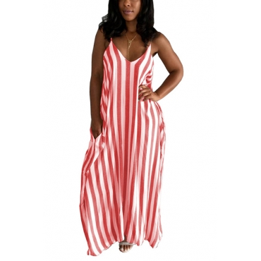 Stylish V Neck Striped Red Blending Ankle Length Dress