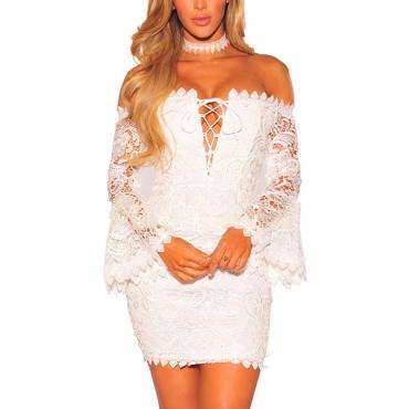 Sexy Dew Shoulder Zipper Design White Lace Sheath Mini Dress(Without Choker)