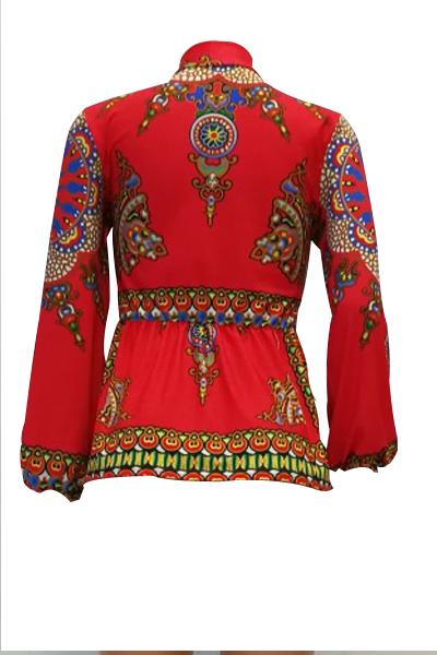 Totem De Mangas Largas De Estilo étnico Cuello Mandarín Impreso Camisas De Fibra De Leche Roja