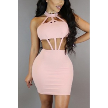 Sexy Round Neck Hollow-out Pink Polyester Sheath Mini Dress