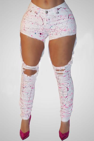 eleganti vita alta fori rotti pantaloni di cotone bianco