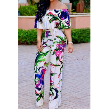 Stylish Printed White Milk Fiber One-piece Jumpsuits