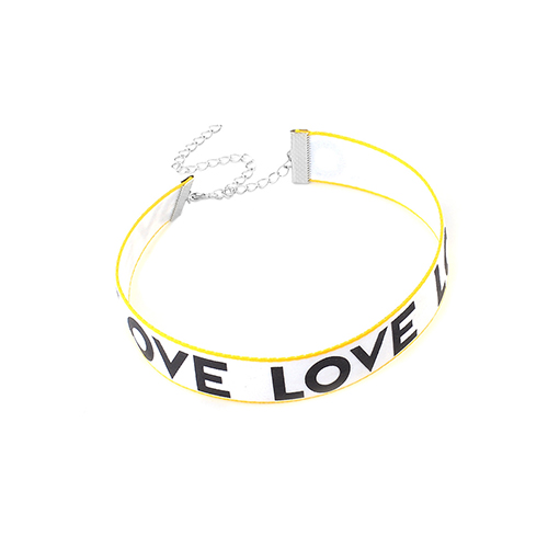 Fashion Letters Printed White Fabric Choker