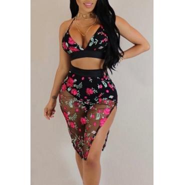 Sexy Backless Black Gauze Two-piece Skirt SetWithout Choker)