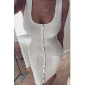 Eleganti bottoni a collo rotondo decorativo in abito bianco cotone mini abito