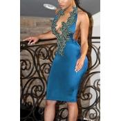Sexy V Neck Backless Light Blue Polyester Sheath Knee Length Dress