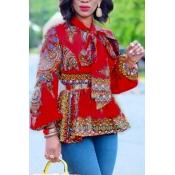 Ethnic Style Mandarin Collar Long Sleeves Totem Pr