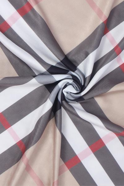 Stylish Round Neck Três quartos mangas Plaids Polyester Sheath Knee Length Dress