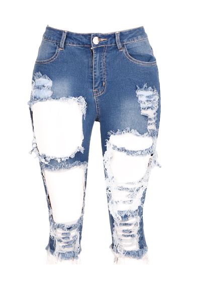 El algodón de la cremallera maciza con mosca de mediana Capris flaco de los pantalones vaqueros