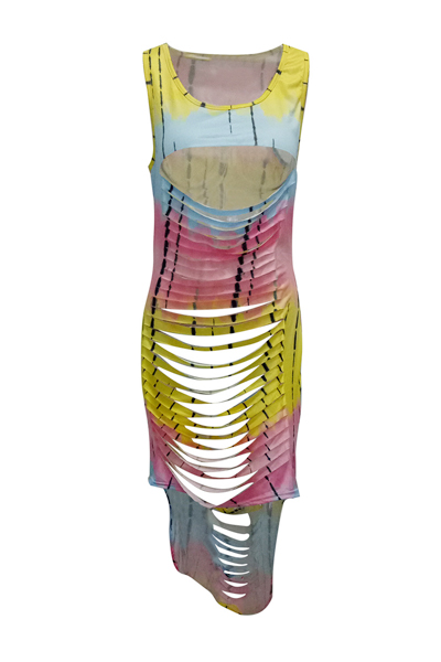 Сексуальное Круглое Шею Без Рукавов Выдолбленное Желтое Молочное Волокно, Покрывающее Лодыжку (без Позиционирования)