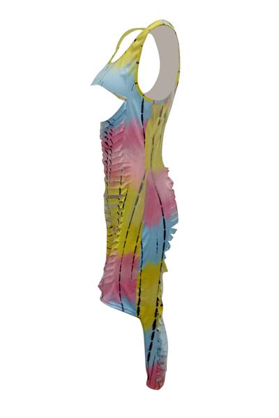 Vestido De Longitud De Tobillo De La Envoltura De La Fibra De La Leche De Color Amarillo, Sin Mangas, Ahuecado, Sin Mangas, Sexy (sin Impresión De Posicionamiento)