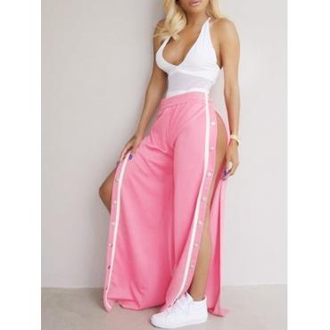 Sexy Elastic Waist High Split Pink Polyester Pants