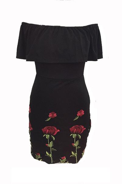 Stylish Dew Shoulder Rose Printed Black Cotton Blend Mini Dress