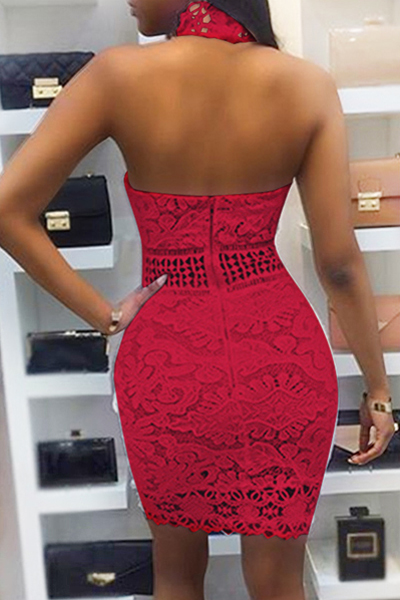 Sexy Backless Red Lace Sheath Mini Dress(Without Lining)