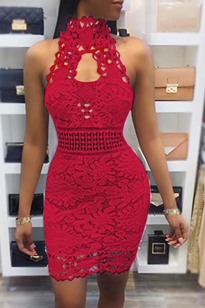 Sexy Backless Red Lace Sheath Mini Dress (Sem Forro)