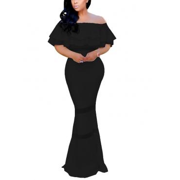 Fashion Dew Shoulder Falbala Design Black Polyester Sheath Floor length Dress