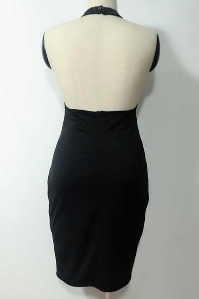 Sexy cuello redondo Sequined Decorativo Negro Poliéster Baina Rodilla Vestido de longitud