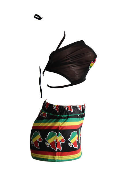 Stylish O Neck Printed Black Healthy Fabric Two-piece Shorts Set(Without Choker)