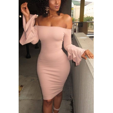 Stylish Dew Shoulder Long Sleeves Falbala Design Pink Polyester Sheath Knee Length Dress