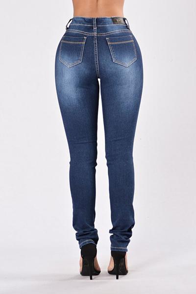 Denim Solid Zipper Fly Mid Regular Hosen Jeans